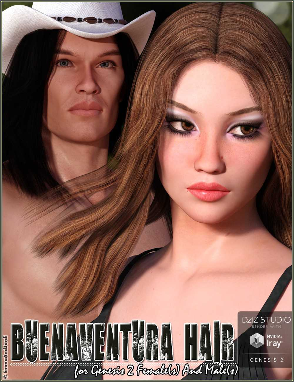 Buenaventura Hair For Genesis 2 Female(s) and Male(s)