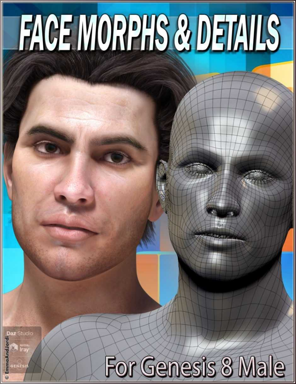 EJ Face Morphs and Details for Genesis 8 Male (Fixed)