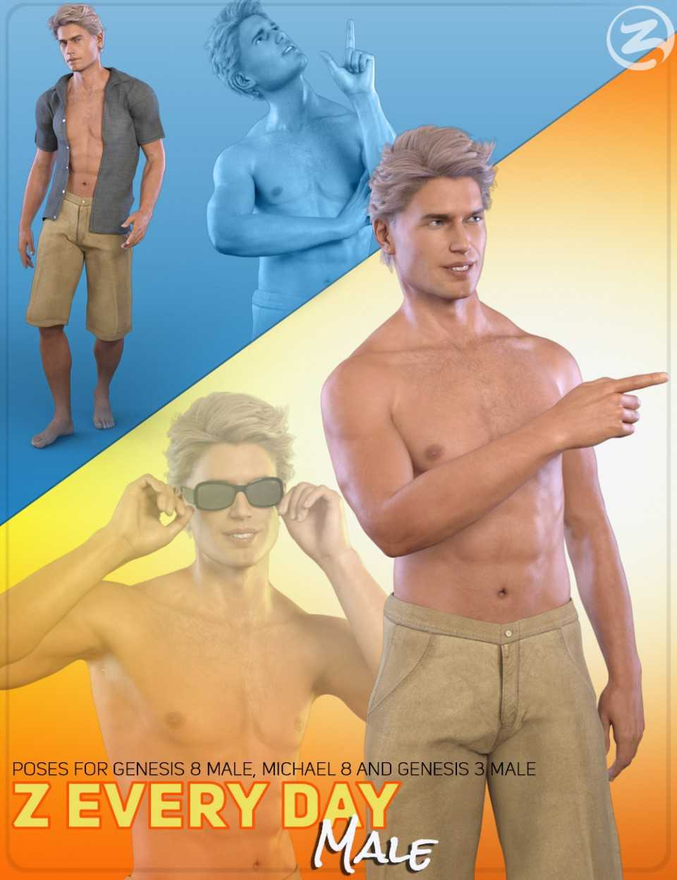 Z Everyday Male – Poses for Genesis 3 Male, Genesis 8 Male and Michael 8