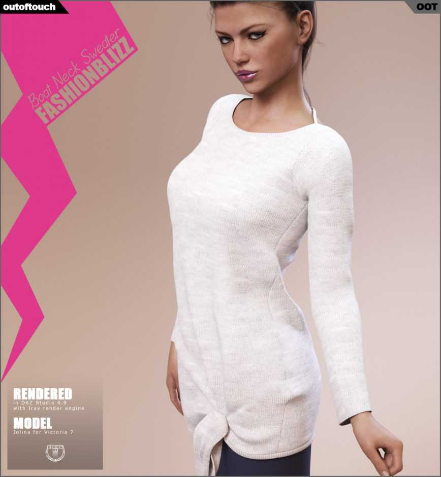 Fashion Blizz Boat Neck Sweater for Genesis 3 Female(s)