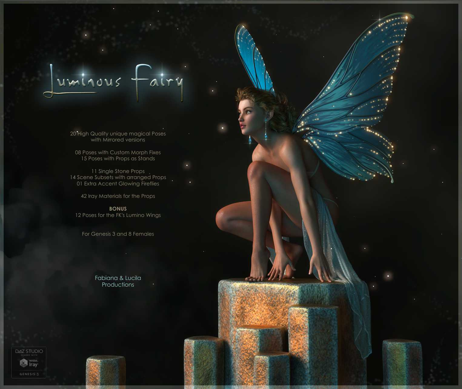 Luminous Fairy Poses and Props for G3F & G8F