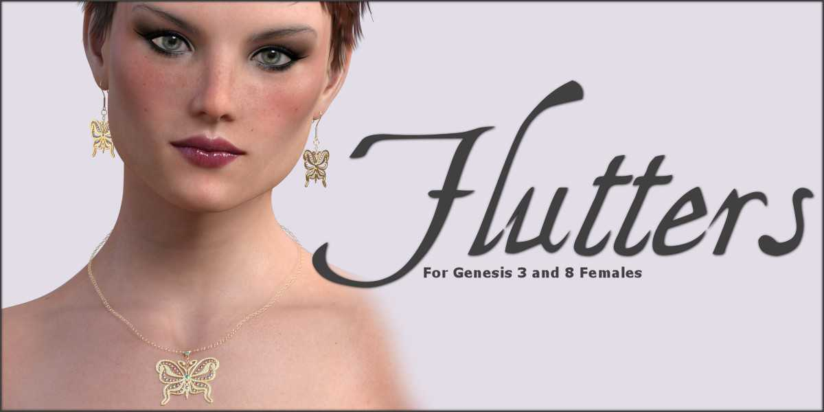 Flutters Earrings and Necklace for G3F G8F