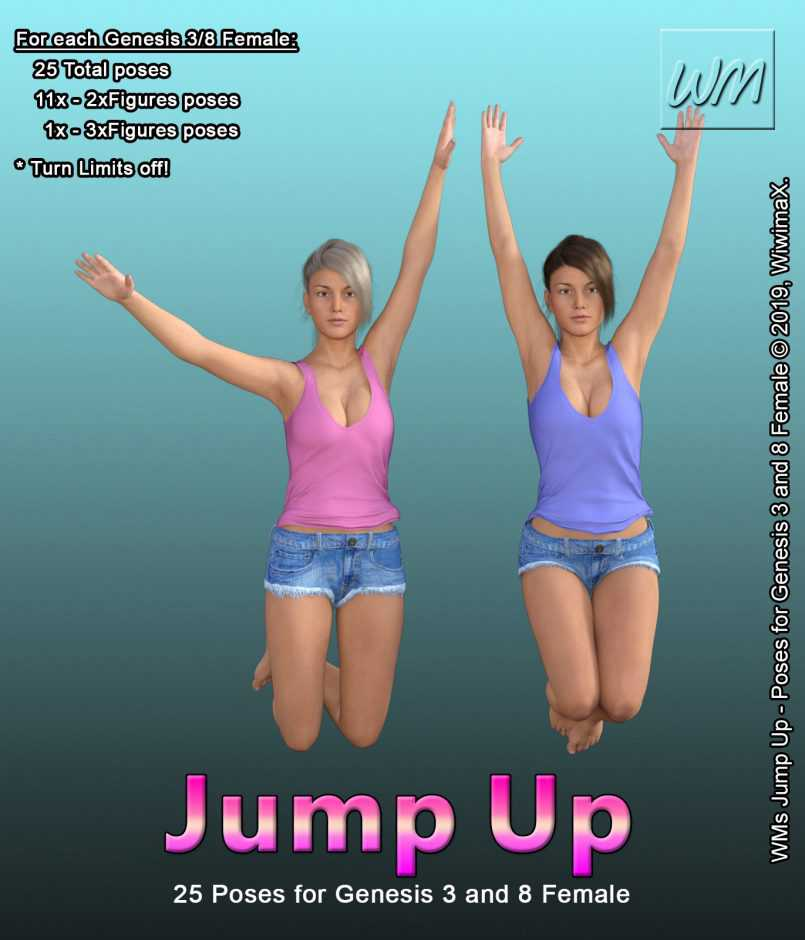 WMs Jump Up – Poses for Genesis 3 and 8 Female