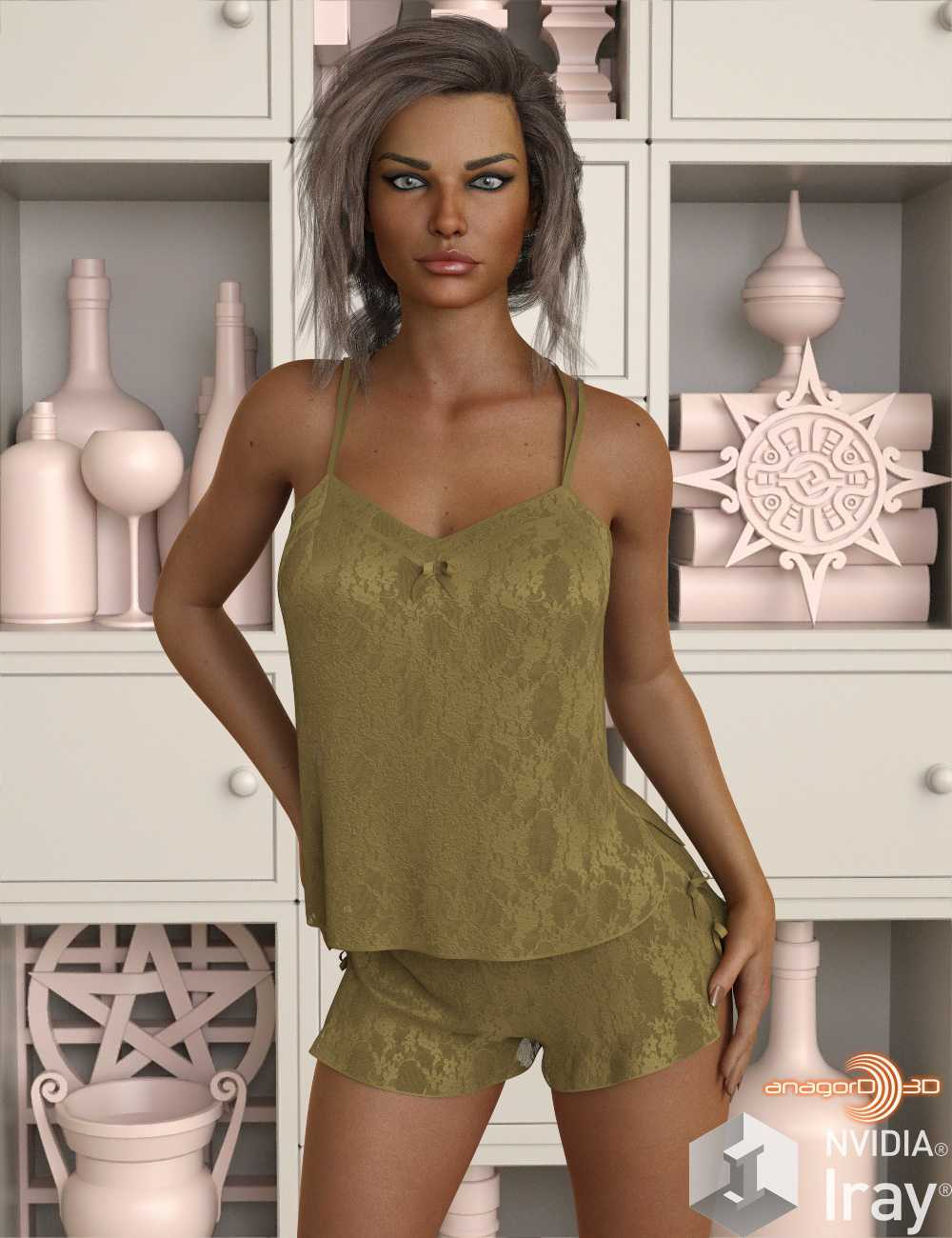 VERSUS – dForce Sexy Silk PJs With Lace for Genesis 8 Female