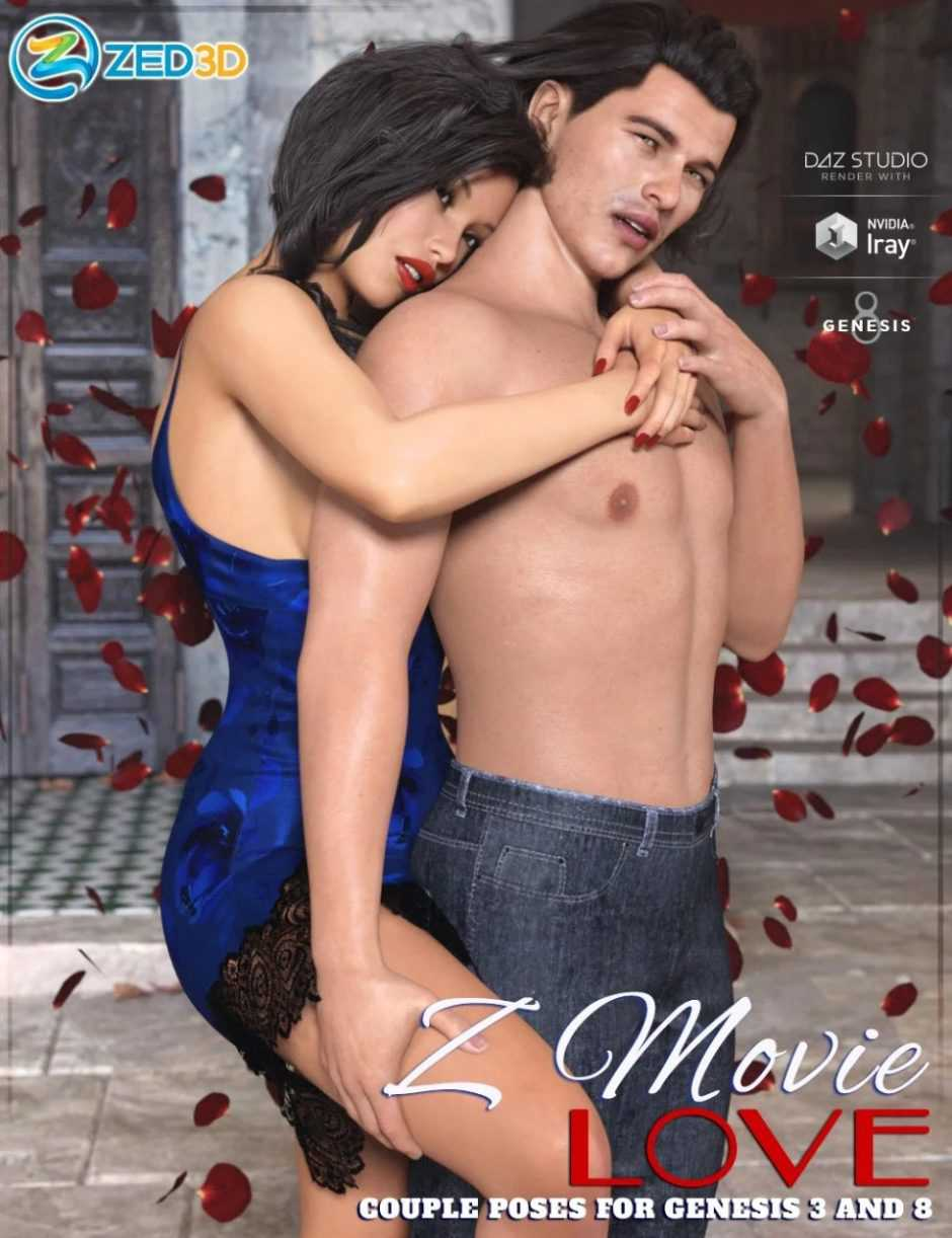 Z Movie Love Couple Poses for Genesis 3 and 8