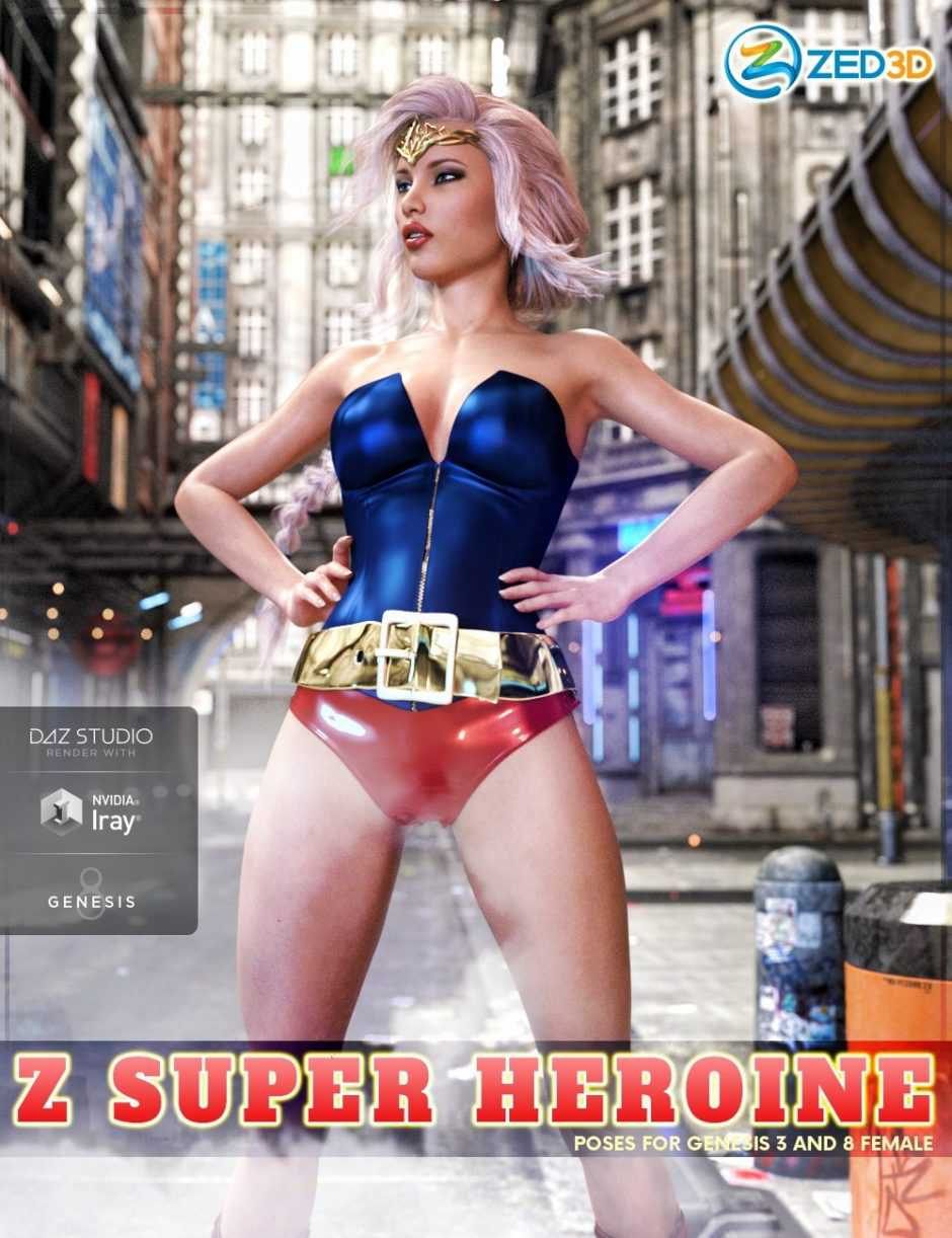 Z Super Heroine – Poses and Partials for Genesis 3 and 8 Female