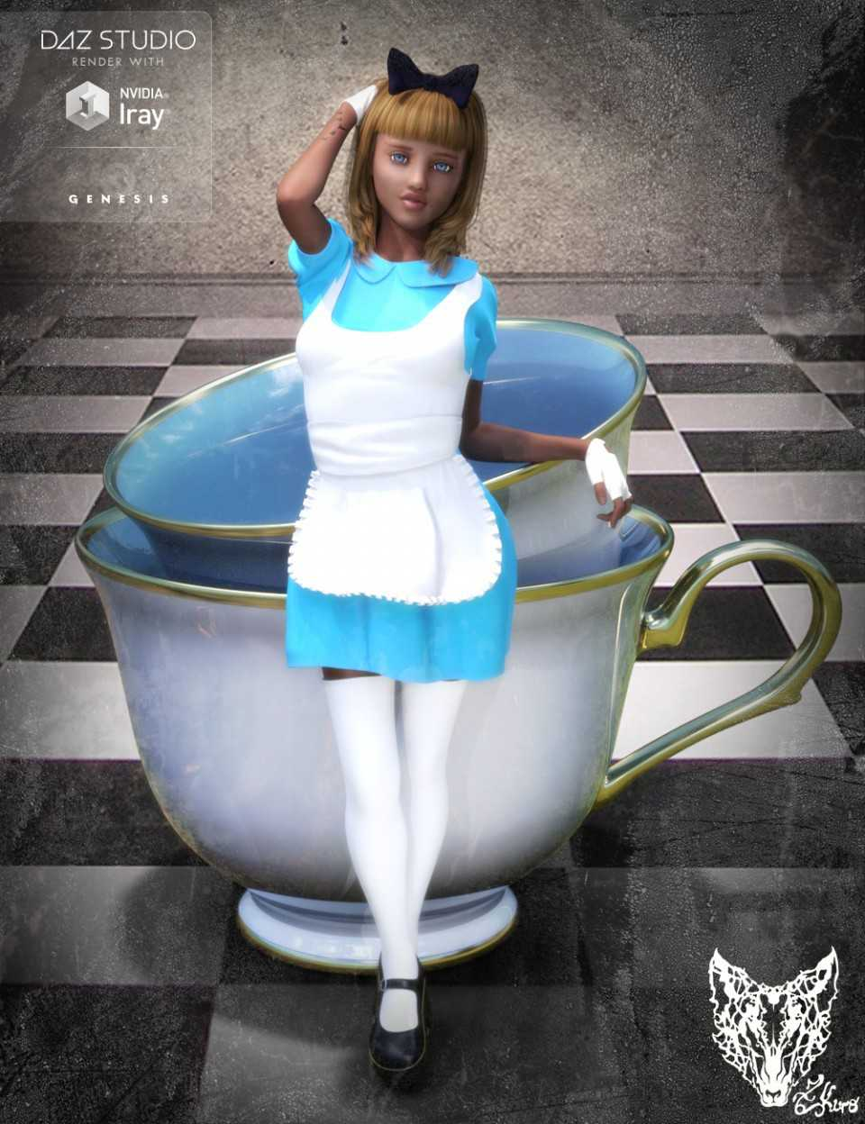 Wonderland Alice Outfit and Props for Genesis 3 Female(s)