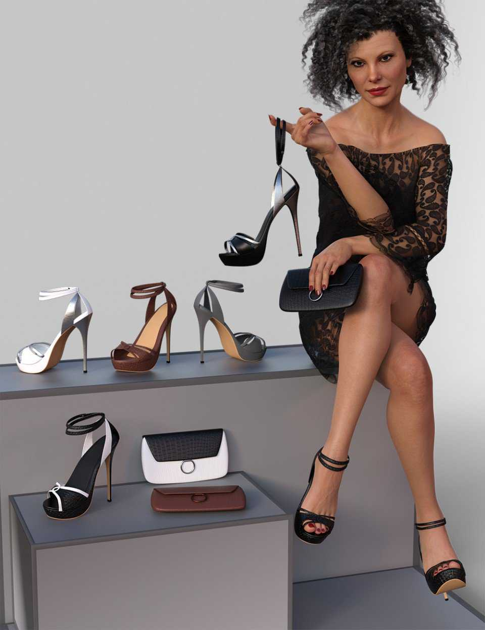 Chloe High Heels and Clutch for Genesis 8 Female(s)