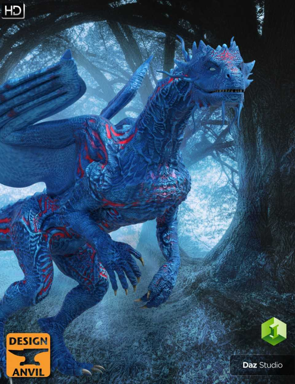 DA Blue Dragon HD for Daz Dragon 3