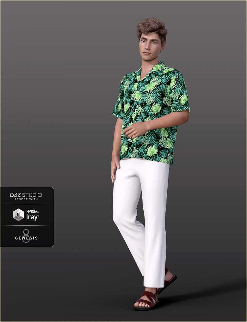 dForce H&C Hawaiian Shirts Outfit for Genesis 8 Male(s)