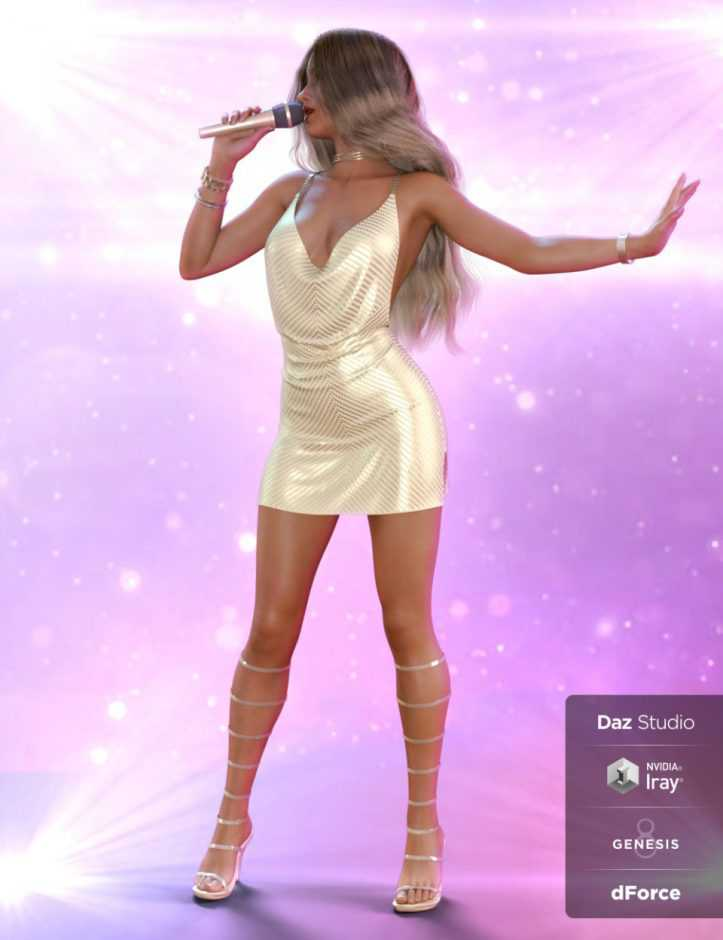 dForce On Stage Outfit and Poses for Genesis 8 Female(s)