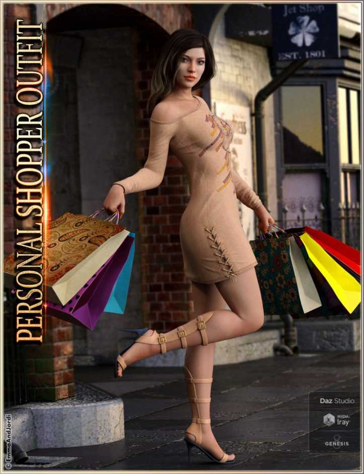 dForce Personal Shopper Outfit, Accessories and Poses for Genesis 8 Female(s)