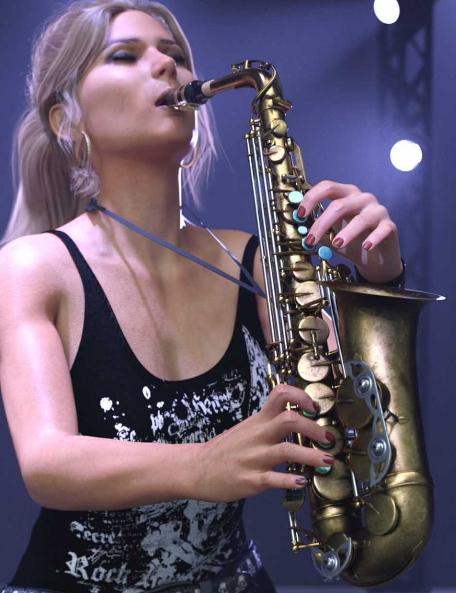 HD Saxophone and Poses for Genesis 8