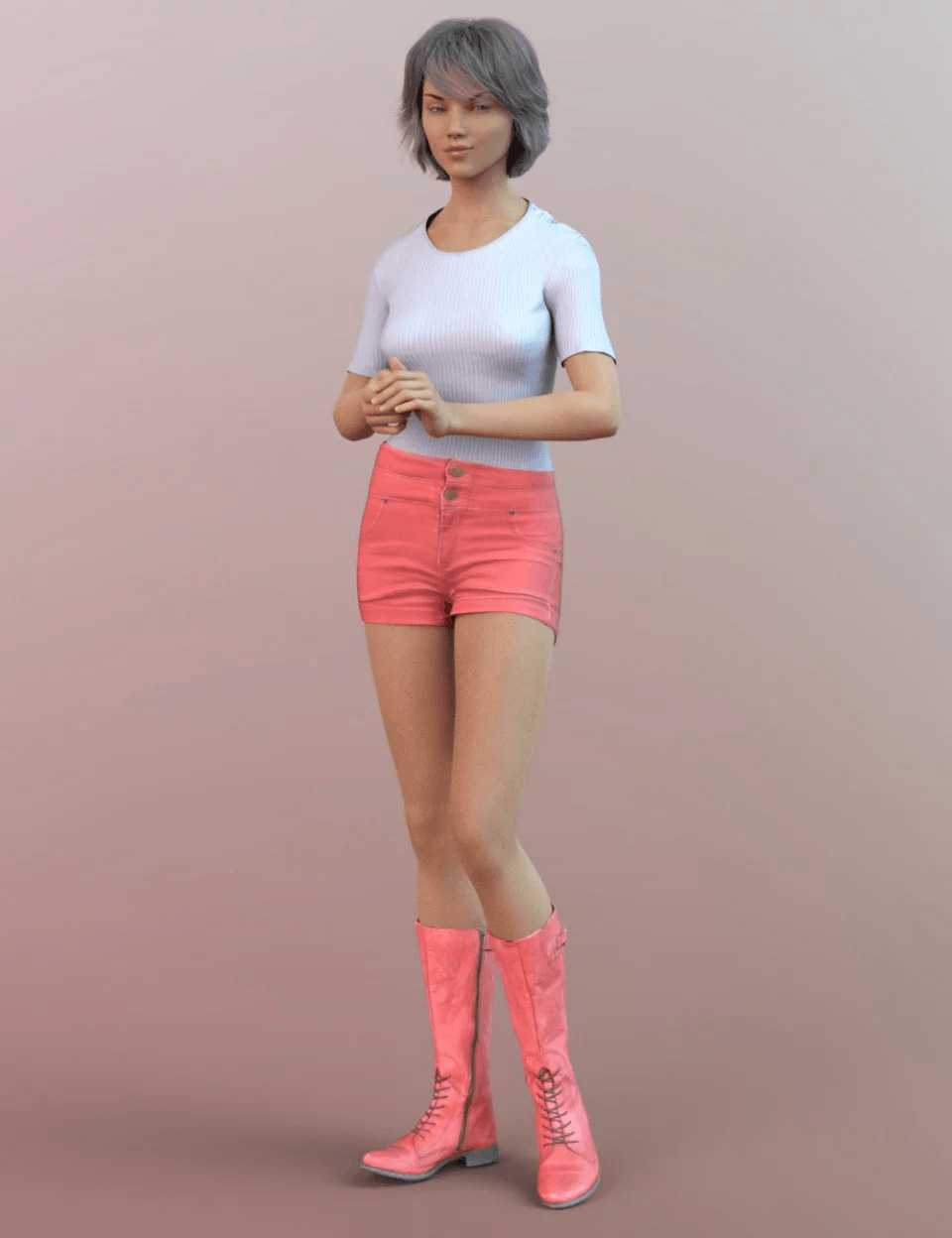Tall Lace Boots for Genesis 8 Female