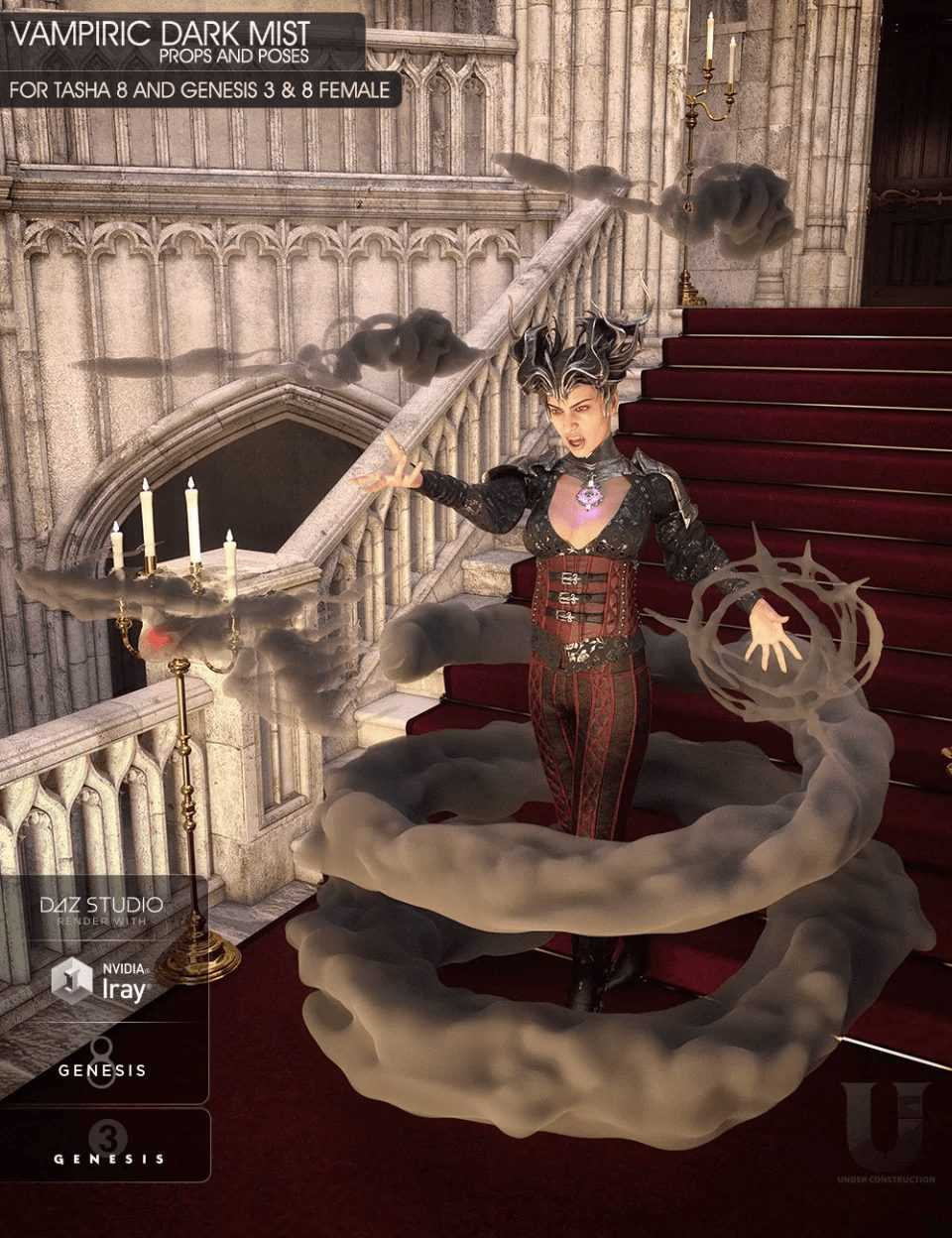 Vampiric Dark Mist Props and Poses for Genesis 3 and 8 Female