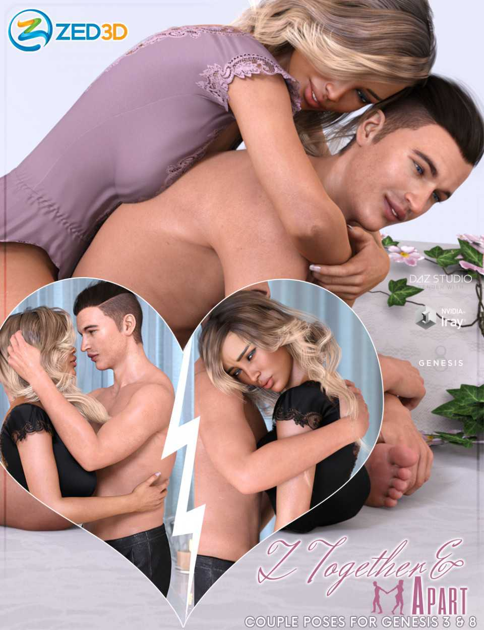 Z Together and Apart Couple Poses for Genesis 3 and 8