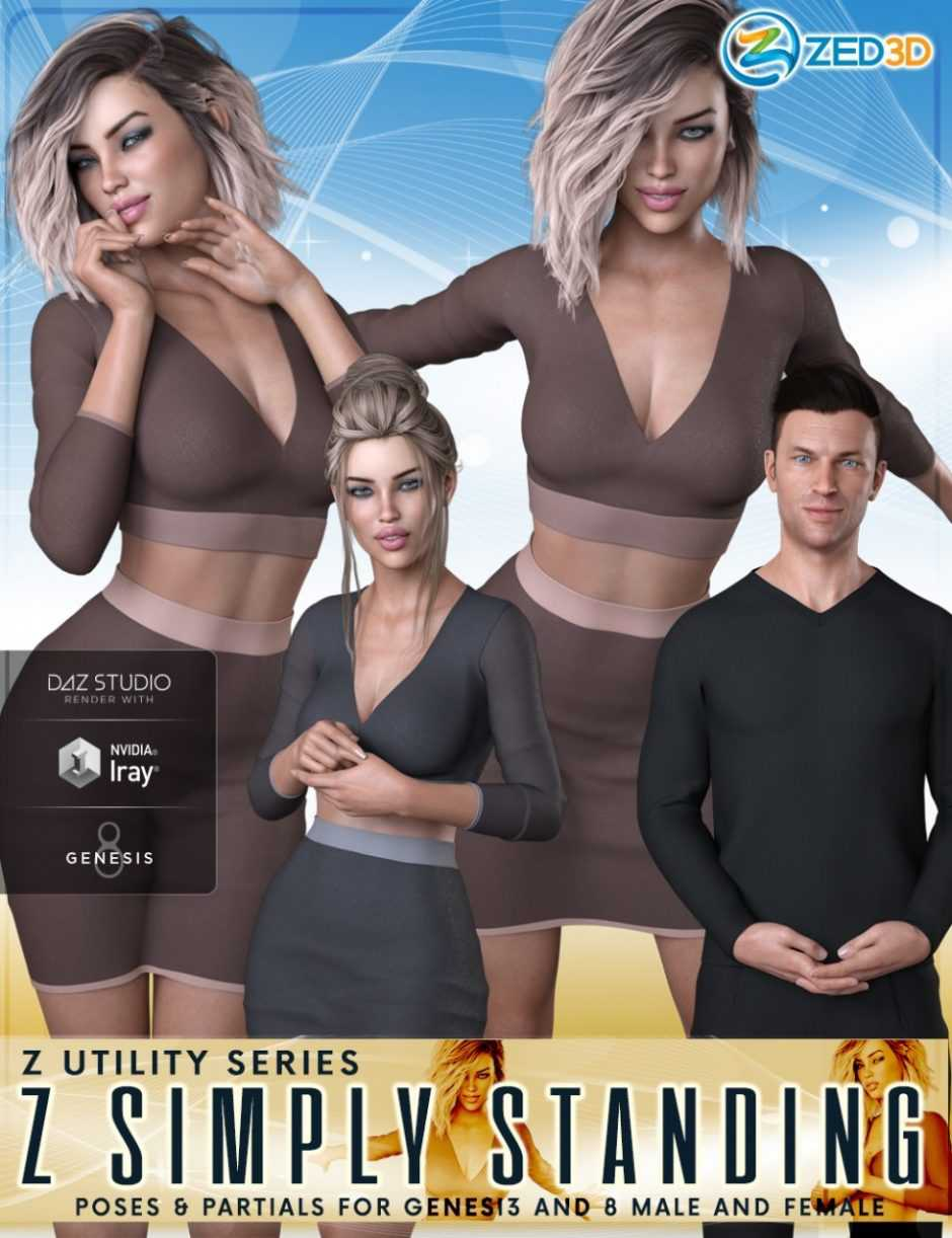 Z Utility Series Simply Standing – Poses and Partials for Genesis 3 and 8